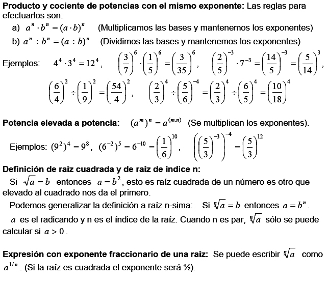 Matemáticas: Potencias y raíces